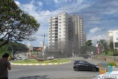 Sinistro chamou atenção pelo grande volume de fumaça que saia do edifício.