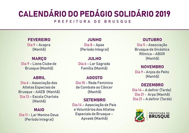 Calendário de Pedágios Solidários