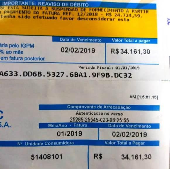 onta de energia de R$ 34 mil reais