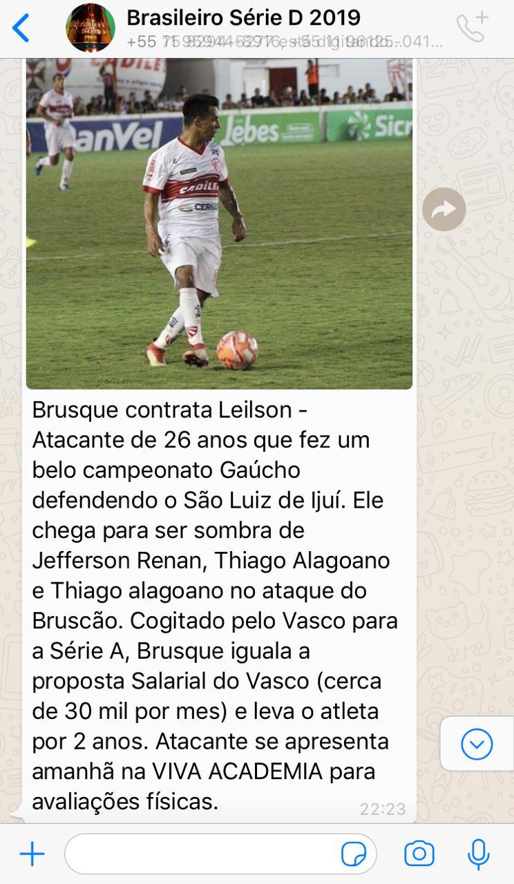 Brusque FC: Diretor André Rezini esclarece Fakenews sobre a contratação de Leilson