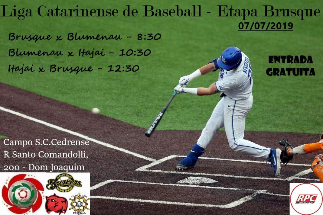 Brusque sediará etapa da Liga Catarinense de Baseball, no dia 7 de julho