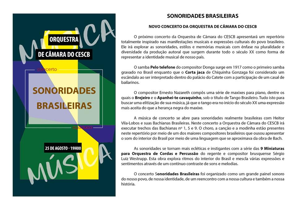 Concerto Sonoridades Brasileiras será neste sábado, 24