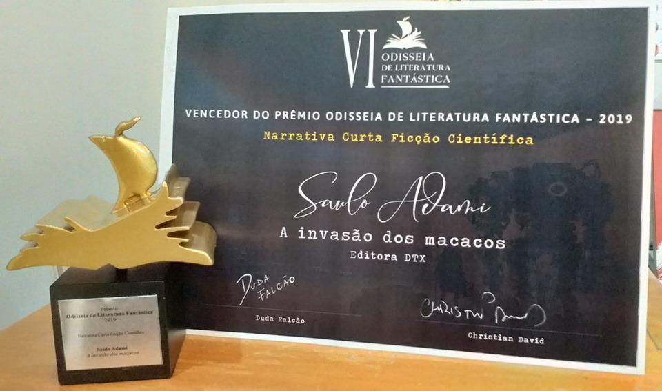 """Com o título """"A Invasão dos Macacos"""", Adami foi vencedor da 6ª edição da Odisseia de Literatura Fantástica."""