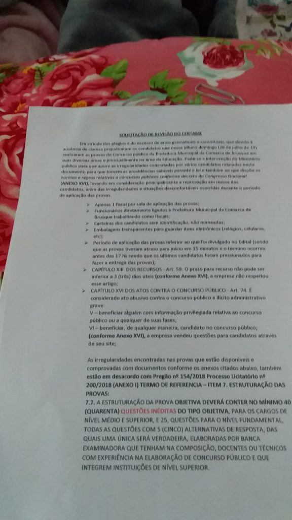 Petição protocolada no Ministério Público representando um grupo de professores pela revisão da prova de educação no concurso da prefeitura de Brusque