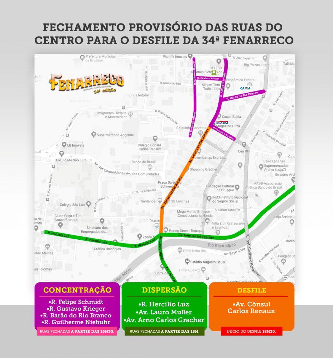 Ruas do Centro serão fechadas para o desfile de abertura da 34ª Fenarreco
