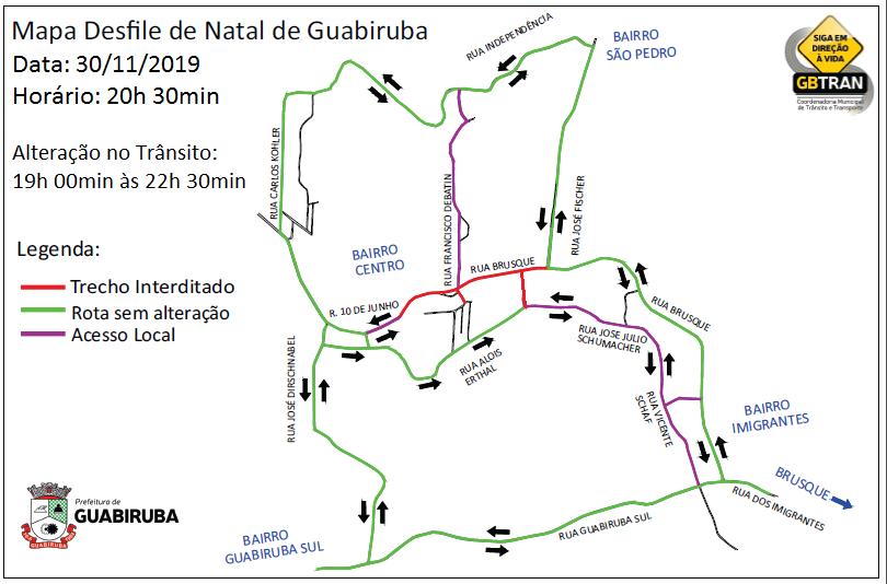 Centro de Guabiruba tem alterações no trânsito