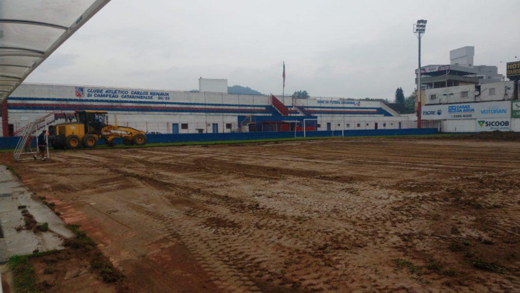 Removido gramado do Estádio Augusto Bauer