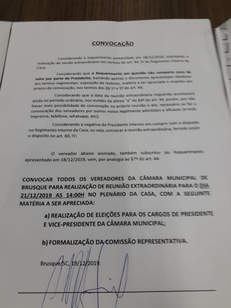 Documento que convoca eleições para presidência da Câmara