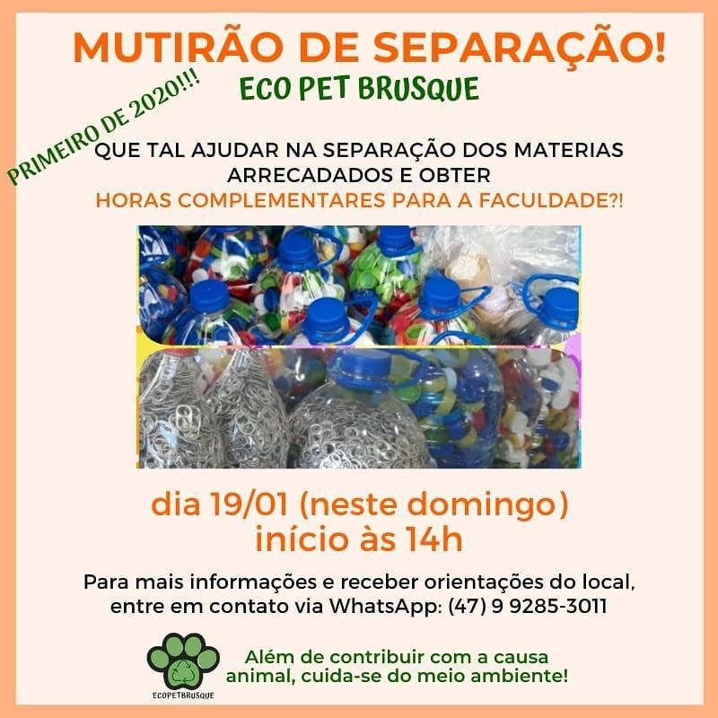 """Eco Pet realiza neste domingo, 19, o primeiro """"Mutirão de Separação; saiba como ajudar"""