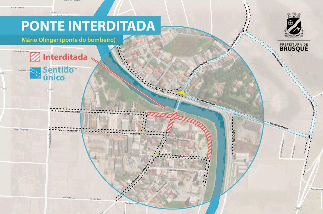 Ponte Mário Olinger será interditada por quatro meses a partir de 31 de janeiro