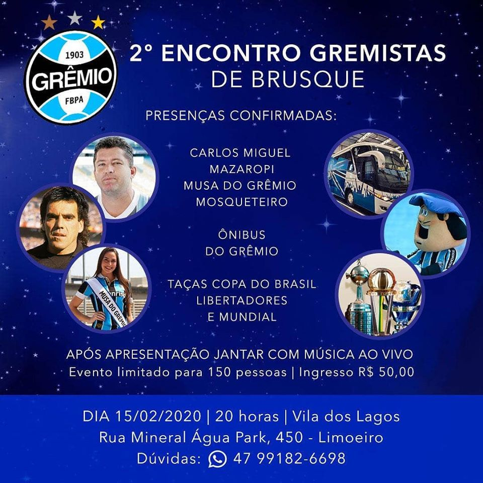 Ídolos e taças do Grêmio estarão em Brusque neste sábado, 15