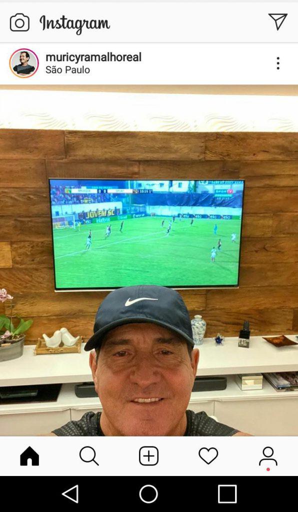 Treinador e comentarista Murici Ramalho postou durante o jogo Brusque x Sport