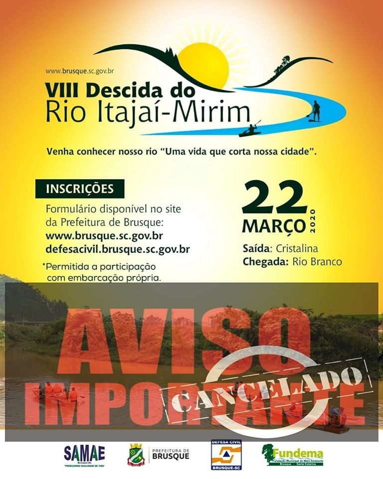 Defesa Civil cancela Descida do Rio Itajaí Mirim