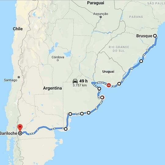 itinerário de viagem do Mundo em Duas Bikes