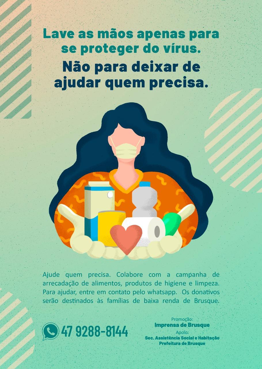 Cononavírus: Imprensa de Brusque realiza campanha de arrecadação de alimentos e materiais de higiene