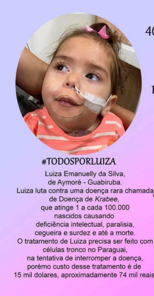 Campanha Todos por Luiz, com informações para doações