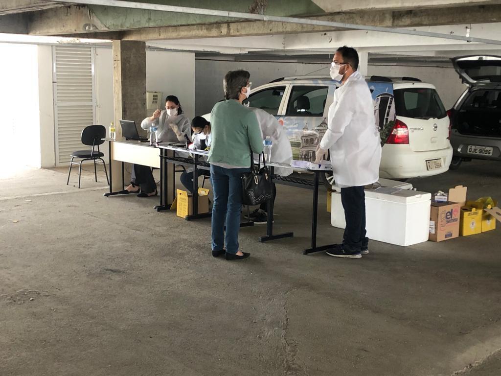 Posto de testagem rápida para Covid-19 realizado pela Secretaria Municipal de Saúde