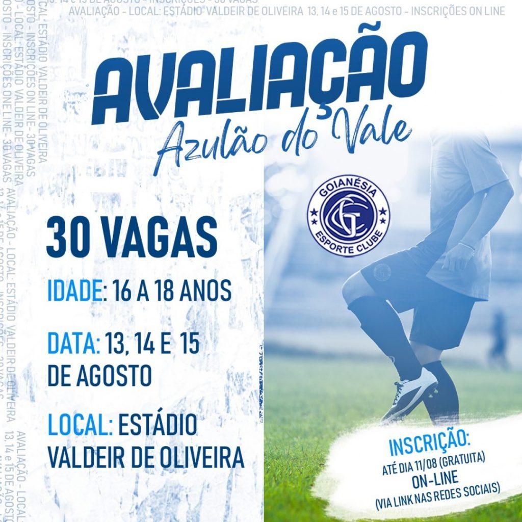 Clube do Goianésia fará avaliação no mês de agosto, conforme anúncio nas redes sociais.