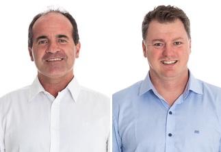 Candidatos em Guabiruba: Valmir Zirke e Cledson Roberto Kormann