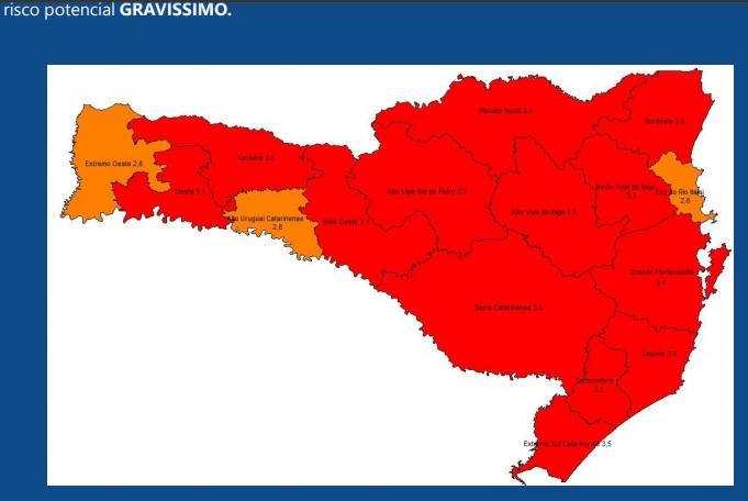 Subiu para 13 o número de regiões de Santa Catariana com risco gravíssimo (em vermelho) para coronavírus