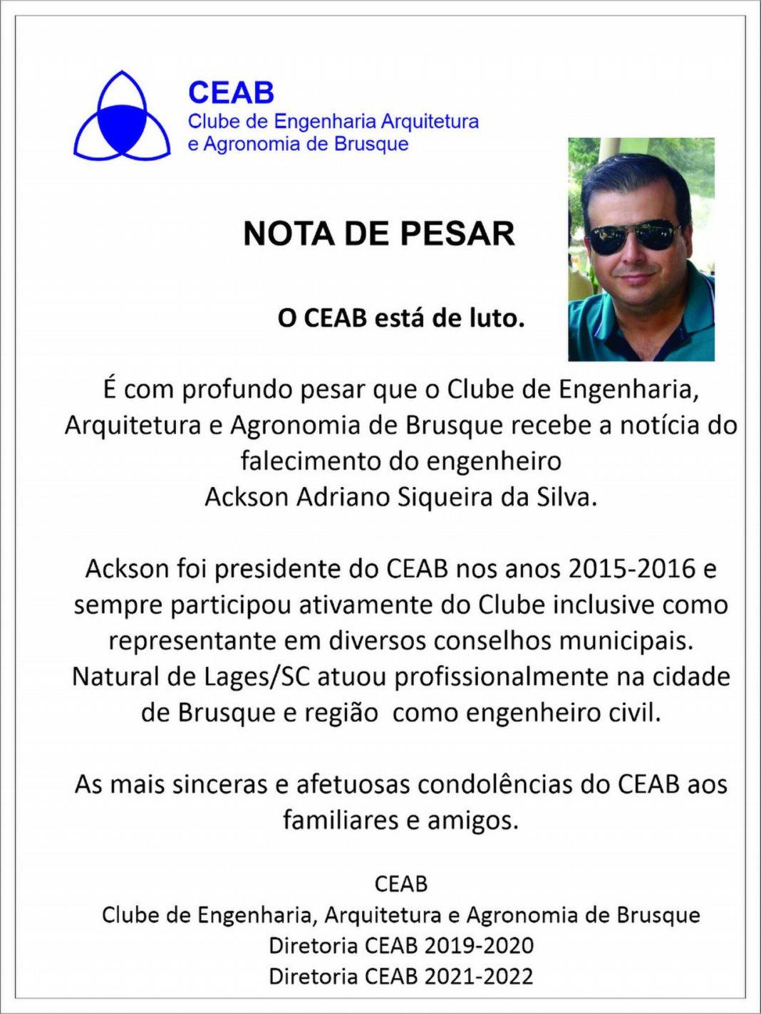 Nota do CEAB lamenta morte do Ackson Siqueira