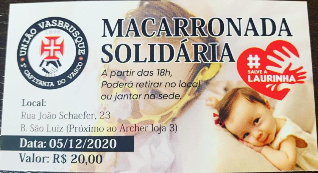 Cartões da macarronada solidária da VasBrusque em prol da campanha Salve Laurinha