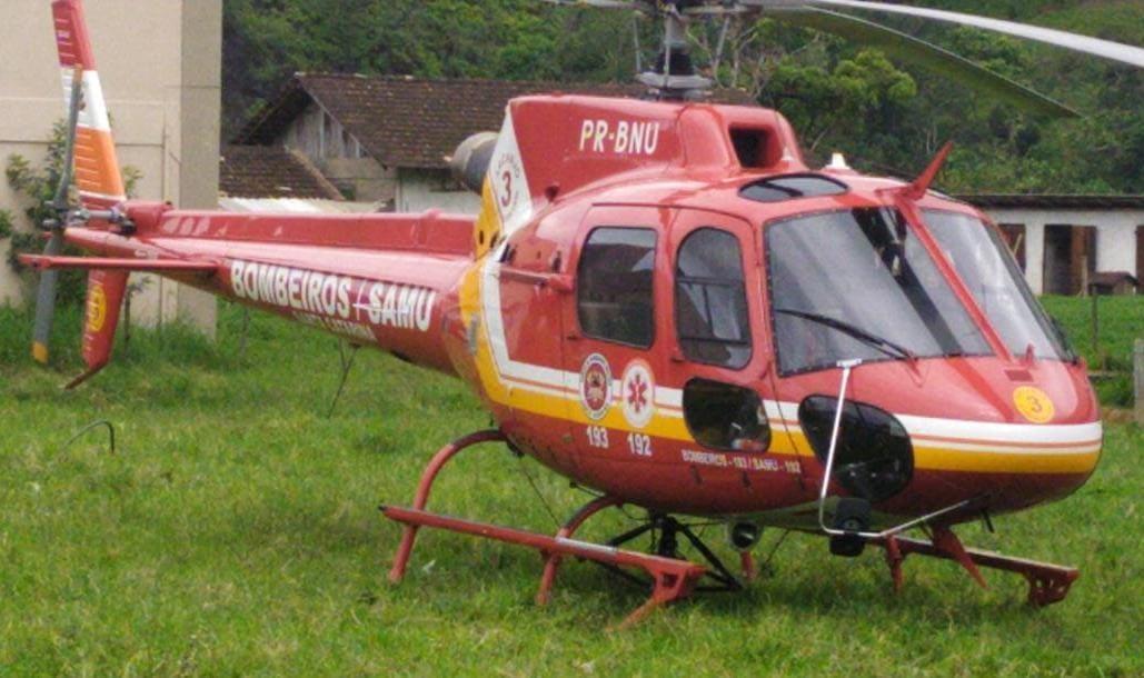 Serviço aéreo foi acionado duas vezes para acidentes de trabalho em Brusque, nesta quarta-feira, 2