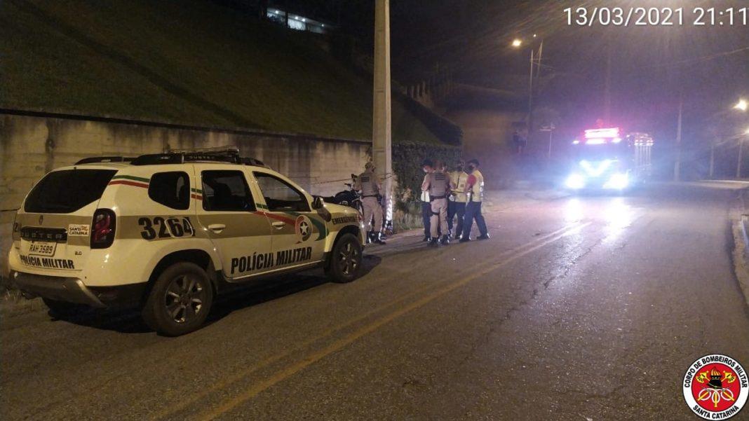 Acidente registrado na Rua São Pedro (Foto: Corpo de Bombeiros)